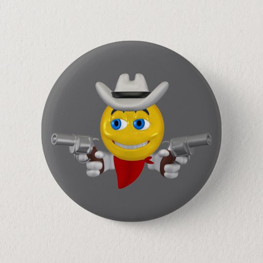 Yellow cowboys smiley face 6 cm round badge