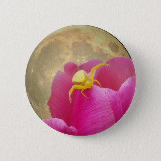 Yellow Crab Spider on Tulip Moon Background 6 Cm Round Badge
