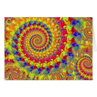 Yellow Crazy Fractal Greeting Card