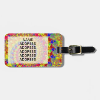 Yellow Crazy Fractal Luggage Tag