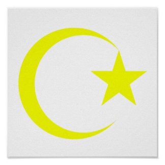 Yellow Crescent Star png Poster