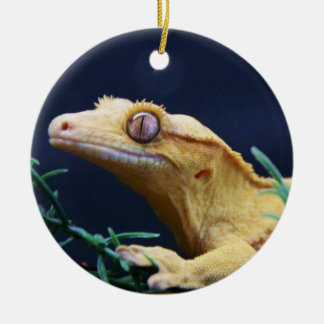 Yellow Crested Gecko Resting Round Ceramic Decoration
