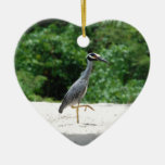 Yellow-crested night heron ceramic heart decoration