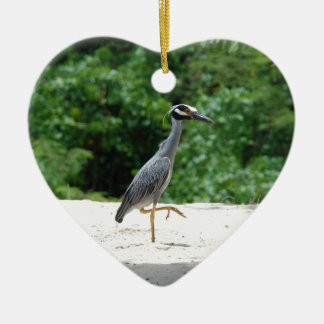 Yellow-crested night heron christmas ornament