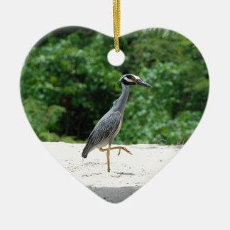 Yellow-crested night heron christmas ornament