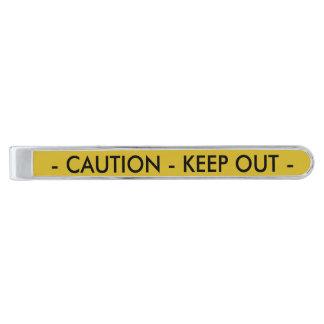 Yellow Crime Scene Tape Silver Finish Tie Clip
