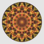 Yellow Crocus kaleidoscope Round Stickers