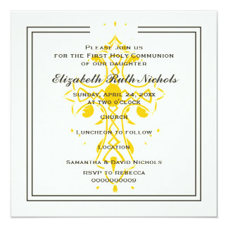 Yellow Cross First Communion Confirmation 13 Cm X 13 Cm Square Invitation Card