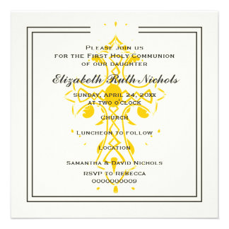 Yellow Cross First Communion Confirmation Invites
