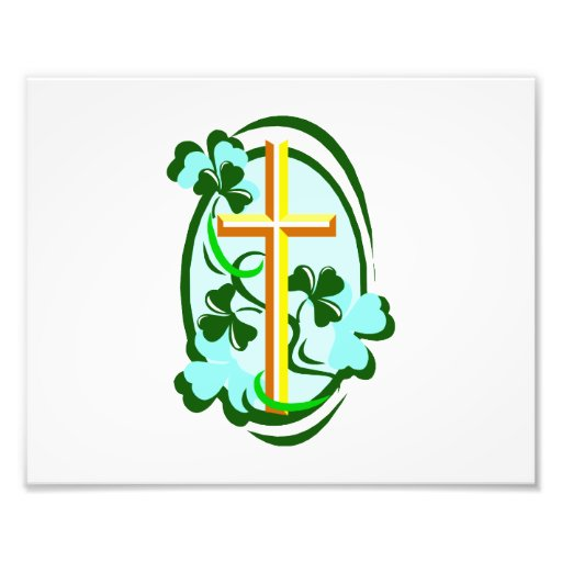 yellow cross green clovers circle.png photo print