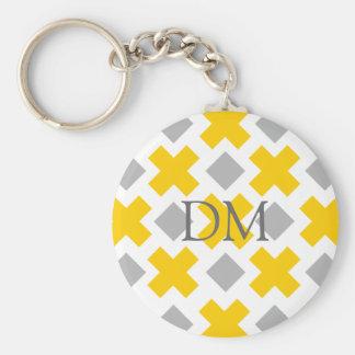 Yellow Cross Grey Diamond Customizeable Gifts Basic Round Button Key Ring