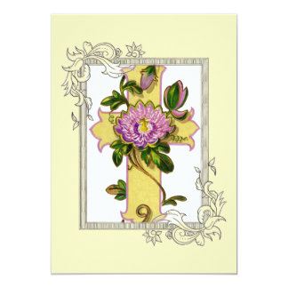 Yellow Cross With Pink Flower Card