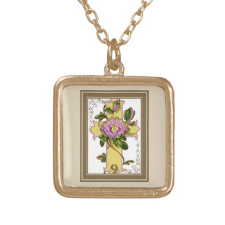 Yellow Cross With Pink Flower Gold Plated Necklace
