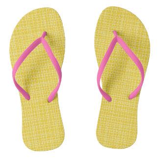 Yellow Crosshatch Flip Flops
