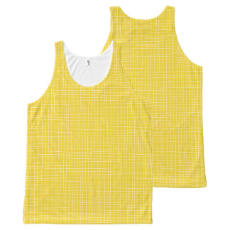 Yellow Crosshatch All-Over Print Tank Top