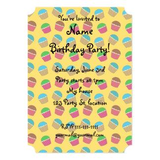 Yellow cupcake pattern 13 cm x 18 cm invitation card