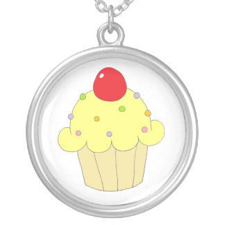 Yellow Cupcake Round Pendant Necklace