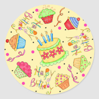 Yellow Cupcakes and Cake Happy Birthday Round Sticker