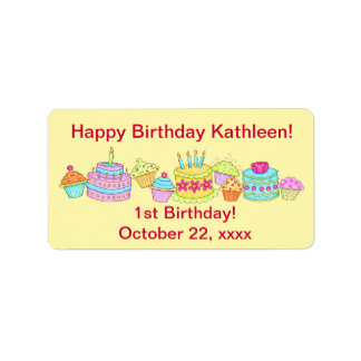Yellow Cupcakes /Cake Happy 1st Birthday Custom Address Label