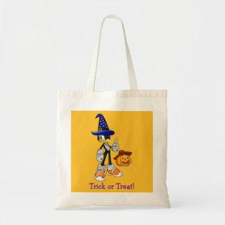 Yellow Custom Halloween Treat Bags Wizard Penguin