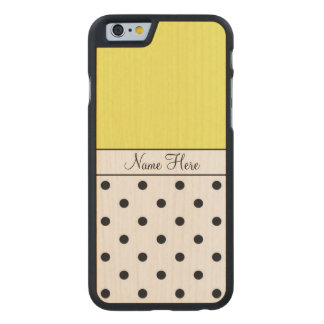 Yellow Custom Name, Black Polka Dots Carved® Maple iPhone 6 Case
