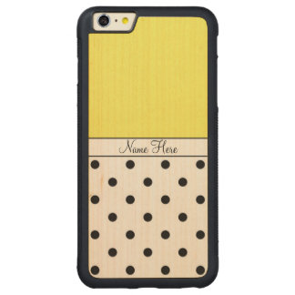 Yellow Custom Name, Black Polka Dots Monogram Carved® Maple iPhone 6 Plus Bumper Case