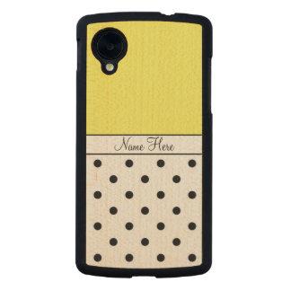 Yellow Custom Name, Black Polka Dots Monogram Carved® Maple Nexus 5 Slim Case