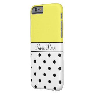Yellow Custom Name, Black & White Polka Dots Slim iPhone 6 Case