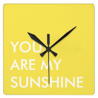 Yellow Custom Text Art You Are My Sunshine Wallclocks