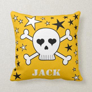 Yellow Customizable Cute Crossbone Skull and Stars Cushion