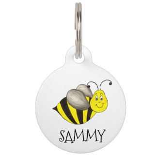 Yellow Cute Cartoon Bee Bumblebee Dog Pet Tag