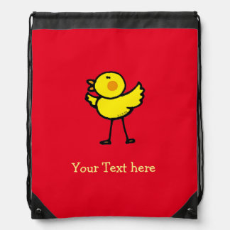 yellow cute chick - personalized drawstring bag