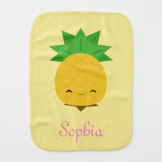Yellow cute kawaii pineapple baby burp cloth