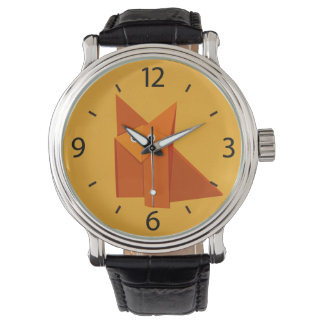Yellow Cute Origami Fox Watch