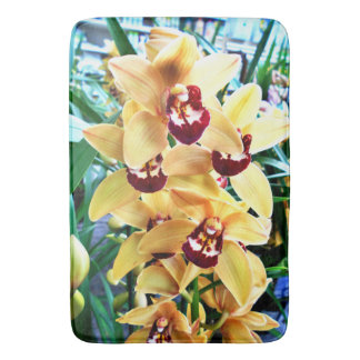 Yellow Cymbidium Orchids Bath Mat