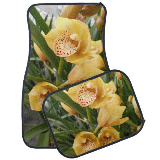 Yellow Cymbidium Orchids Car Mat
