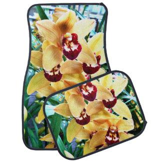 Yellow Cymbidium Orchids Car Mat
