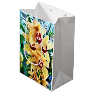 Yellow Cymbidium Orchids Medium Gift Bag