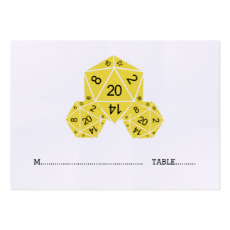 Yellow D20 Dice Wedding Place Card Pack Of Chubby Business Cards