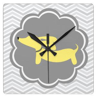 Yellow Dachshund Doxie Wiener Dog Wall Clock