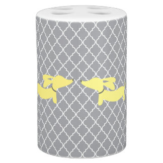 Yellow Dachshunds on Gray Moroccan Lattice Soap Dispenser And Toothbrush Holder