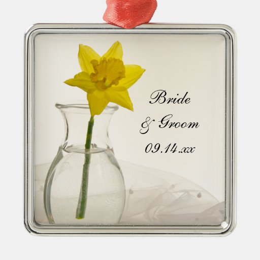 Yellow Daffodil and Pearls Wedding Square Ornament