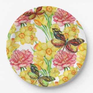 Yellow Daffodil & Butterfly Paper Plate