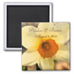 Yellow Daffodil Floral Save The Date Magnet