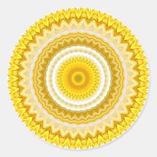 Yellow Daffodil Mandala Pattern Classic Round Sticker