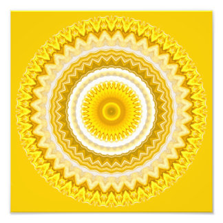 Yellow Daffodil Mandala Pattern Photo Print