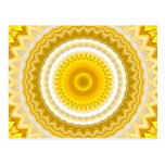 Yellow Daffodil Mandala Pattern Postcard