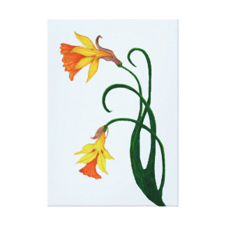 Yellow Daffodil on Light Blue Background, Left Canvas Print
