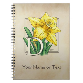 Yellow Daffodil Personalized Monogram Notebook