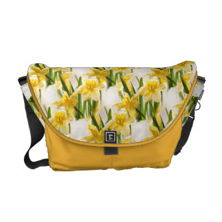 Yellow Daffodil Wallpaper Pattern Messenger Bag